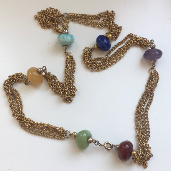 Vintage Jewelry - Vintage stone and gold chain necklace